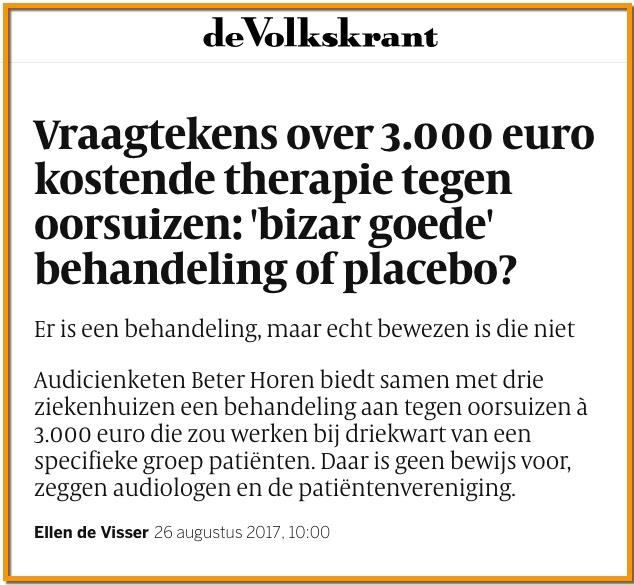 tinnitus behandeling Beter Horen Volkskrant