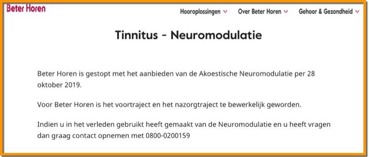 Beter Horen tinnitus therapie stopt