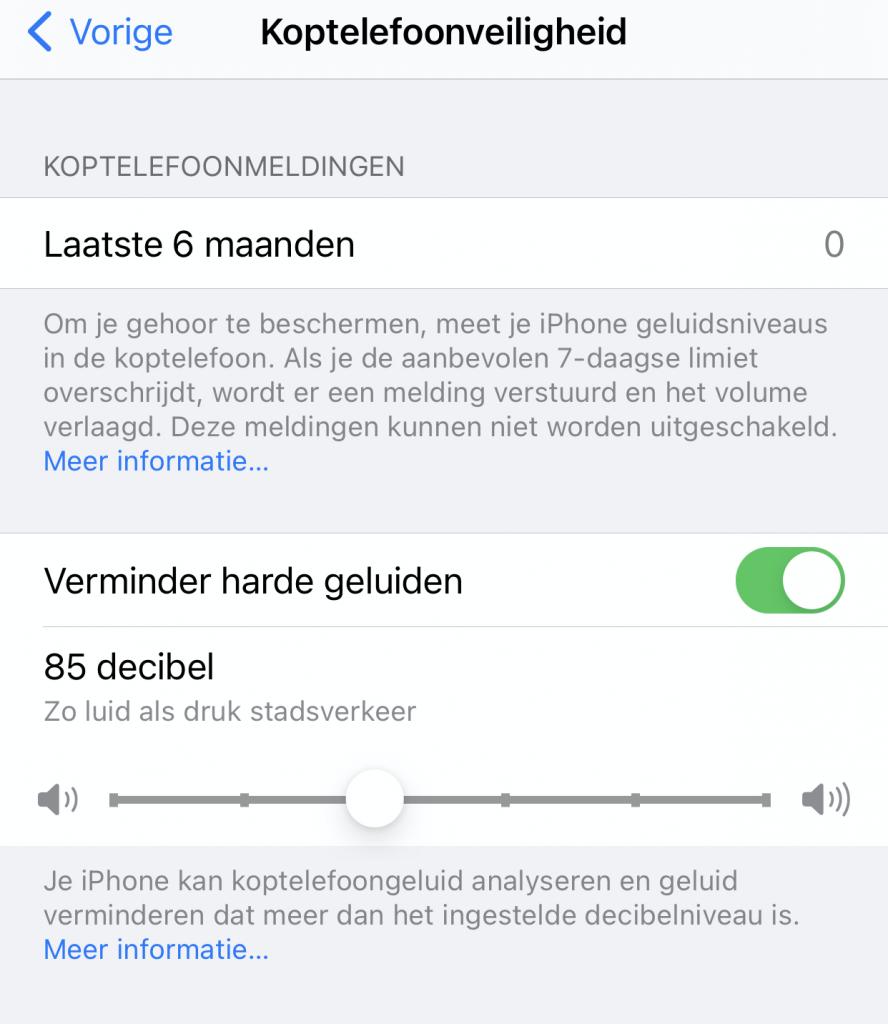 geluidsbegrenzer telefoon iphone