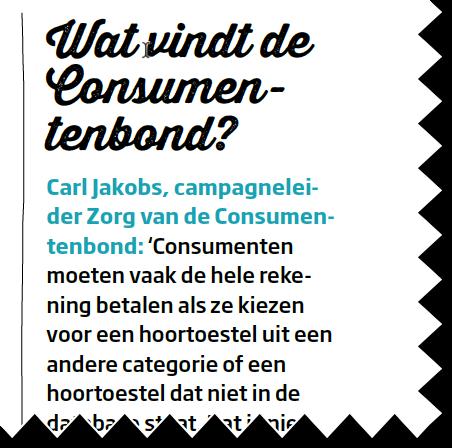 oproep consumentenbond bijbetalen hoortoestellen
