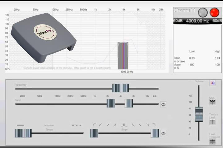 luidheid tinnitus en frequentie bepalen MedRx tinnometer