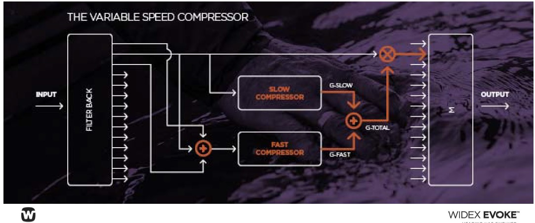 Widex Evoke variabele compressor